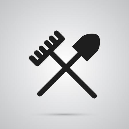 Isolated Shovel Icon Symbol On Clean Background.