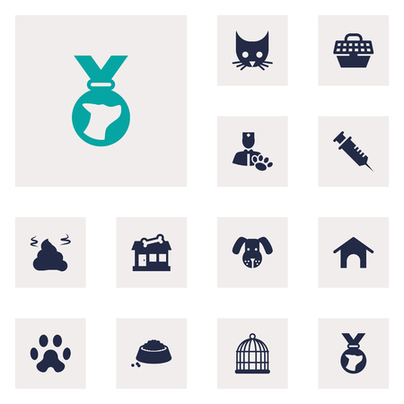 Set Of 12 Pets Icons Set.Collection Of Store, Food, Veterinarian And Other Elements.