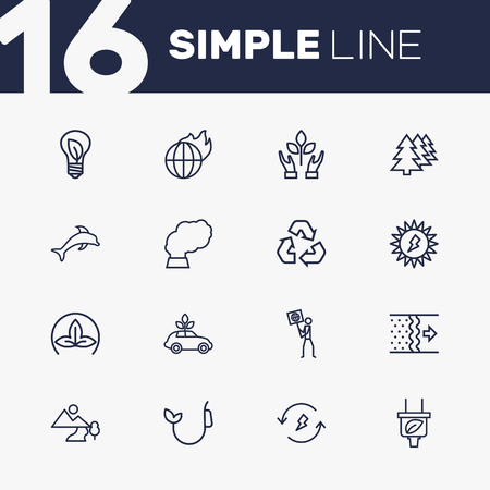 Set Of 16 Atmosphere Outline Icons Set.Collection Of Afforestation, Solar, Dolphin And Other Elements. Ilustrace