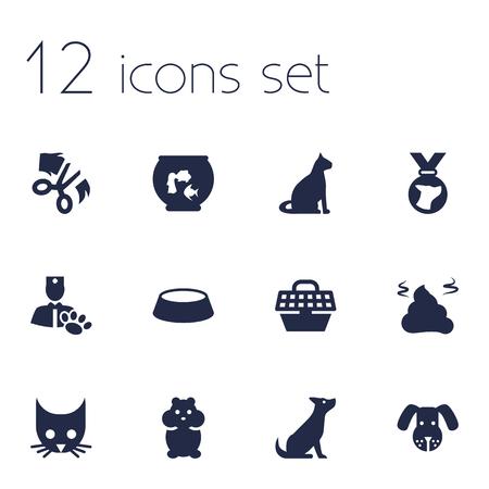 12 동물 아이콘 집합의 집합입니다. 메달, 애완 동물 상자, 더미 및 기타 요소의 컬렉션.