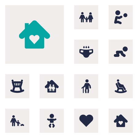 incontinence: Set Of 12 People Icons Set.Collection Of Cot, Father With Son, Relatives And Other Elements.