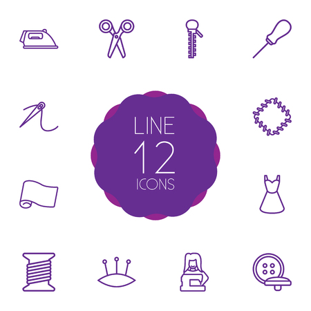 threading hair: Set Of 12 Sewing Outline Icons Set.Collection Of Needle, Tailor, Awl And Other Elements.