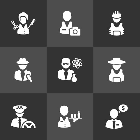Set Of 9 Position Icons Set.Collection Of Rancher, Money Agent, Journalist And Other Elements. 向量圖像