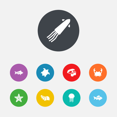 Set Of 9 Food Icons Set.Collection Of Calamary, Medusa, Tunny And Other Elements. Illustration