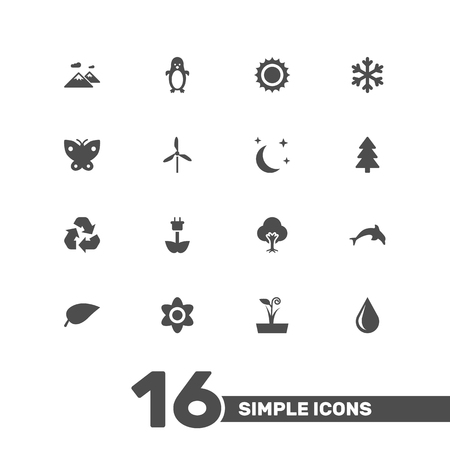 Set Of 16 Ecology Icons Set.Collection Of Spruce, Bloom, Blob And Other Elements.