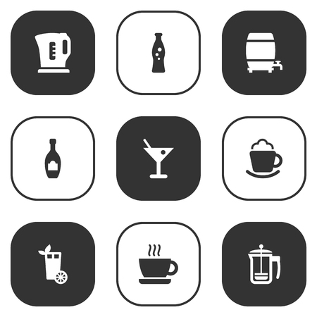 Set Of 9 Beverages Icons Set.Collection Of Pot, Alcohol, Lemonade And Other Elements. 向量圖像