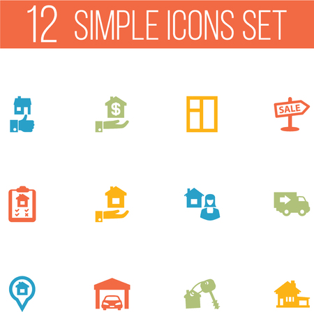 Set Of 12 Property Icons Set.Collection Of Hypothec, Real Estate Agent, Home And Other Elements.