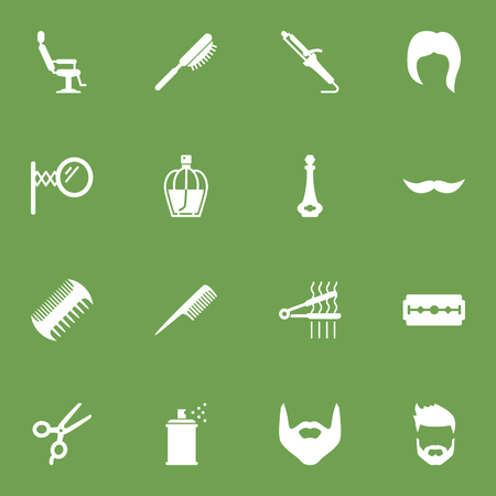 Set Of 16 Hairdresser Icons Set.Collection Of Hairspray, Hipster, Beard And Other Elements.