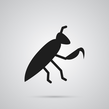 Isolated Mantis Icon Symbol On Clean Background. Vector Grasshopper Element In Trendy Style.