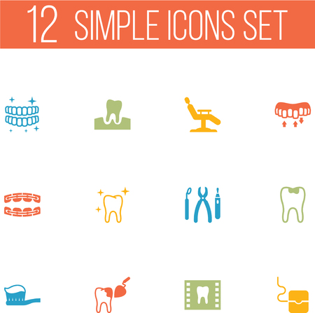 Set Of 12 Dentist Icons Set.Collection Of Caries, Halitosis, Stabilize And Other Elements.