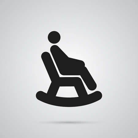 Isolated Man In Armchair Icon Symbol On Clean Background. Vector Rocking Chair Element In Trendy Style. Illustration