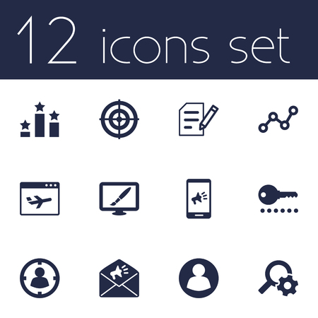 tactics: Set Of 12 Engine Icons Set.Collection Of Design, Password, Announcement And Other Elements. Illustration