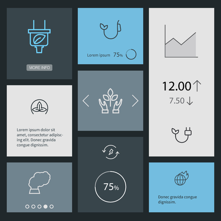 Set Of 8 Bio Outline Icons Set.Collection Of Plug, Nature, Global Warming And Other Elements.