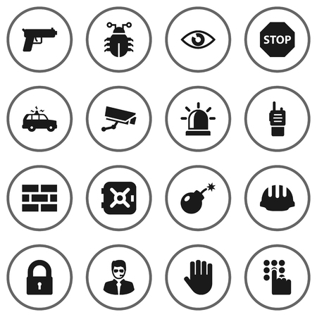 security monitor: Set Of 16 Procuring Icons Set.Collection Of Dynamite, Walkie-Talkie, Alarm And Other Elements. Illustration