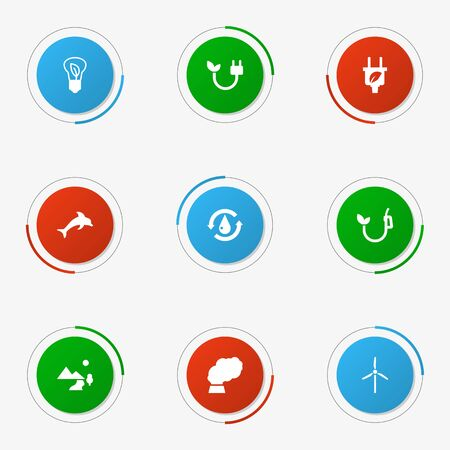 Set of 9 bio icons set. Collection of saving, fish, treatment and other elements. Illustration