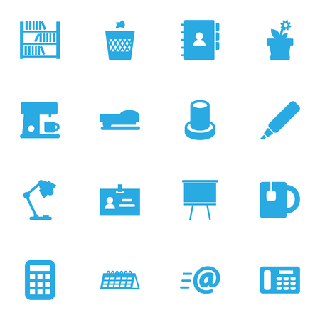 addition: Set Of 16 Office Icons Set.Collection Of Label, Sew, Urn And Other Elements.