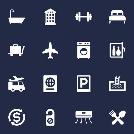 Set di 16 icone di hotel Set.Collection Of Wall Cooler, Chiller, Cafe e altri elementi. Vettoriali