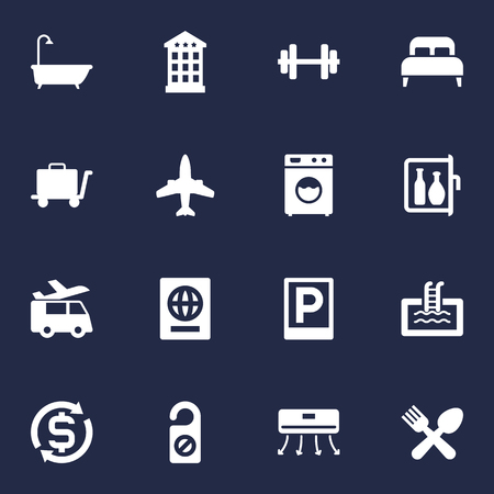 Set Of 16 Hotel Icons Set.Collection Of Wall Cooler, Chiller, Cafe And Other Elements.