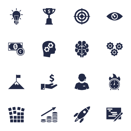 Set Of 16 Idea Icons Set.Collection Of Rocket, Currency, Call Center And Other Elements. Çizim
