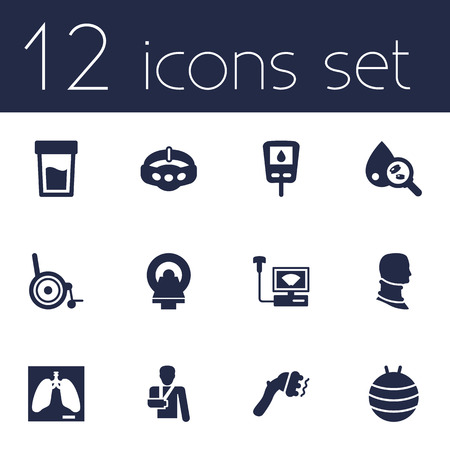 Set Of 12 Healthy Icons Set.Collection Of Pilates, Diabet, Sonogram And Other Elements.