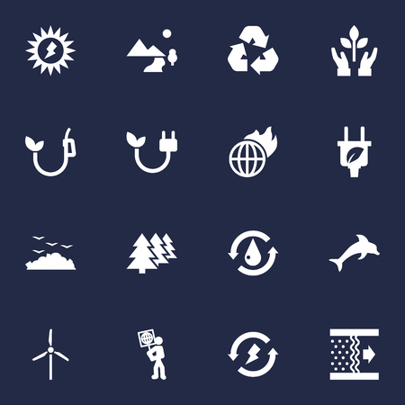 Set Of 16 Ecology Icons Set.Collection Of Leaf, Reforestation, Fish And Other Elements. Illustration