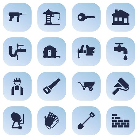 Set Of 16 Construction Icons Set.Collection Of Pipeline, Brick Wall, Building Machinery And Other Elements.
