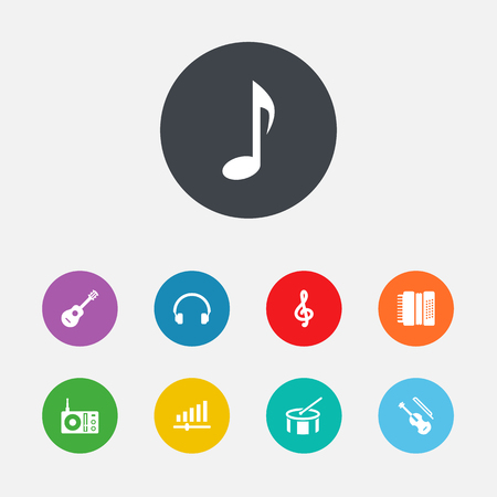 fm radio: Collection Of Knob, Harmonica, Acoustic And Other Elements.  Set Of 9 Song Icons Set.