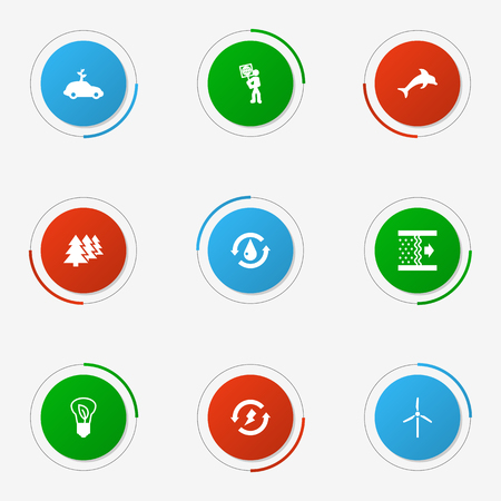Collection Of Treatment, Fish, Fan And Other Elements.  Set Of 9 Atmosphere Icons Set.
