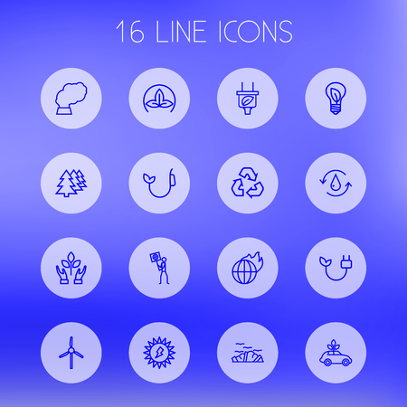 Set Of 16 Ecology Outline Icons Set.Collection Of Nature, Afforestation, Global Warming And Other Elements.