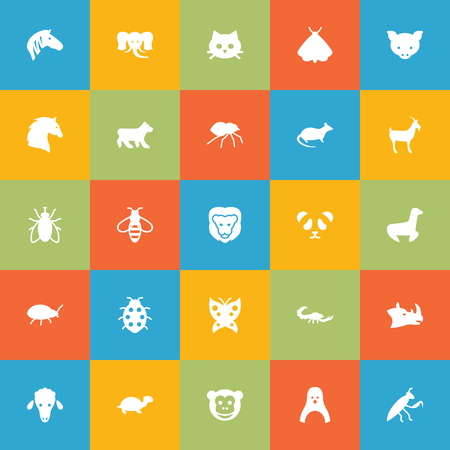 Set Of 25 Alive Icons Set.Collection Of Lamb, Bumblebee, Monarch And Other Elements.