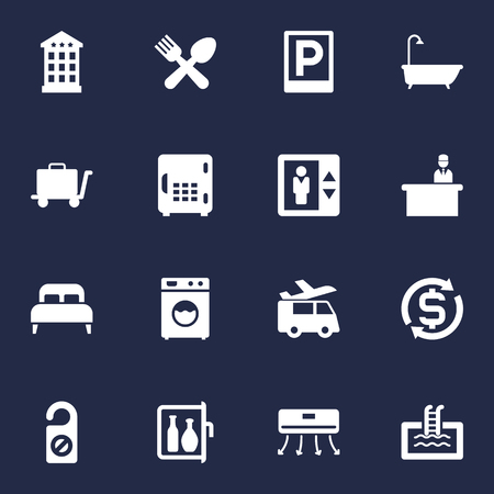 tour operator: Collection Of Road Sign, Lift, Rest Time And Other Elements.  Set Of 16 Travel Icons Set. Illustration