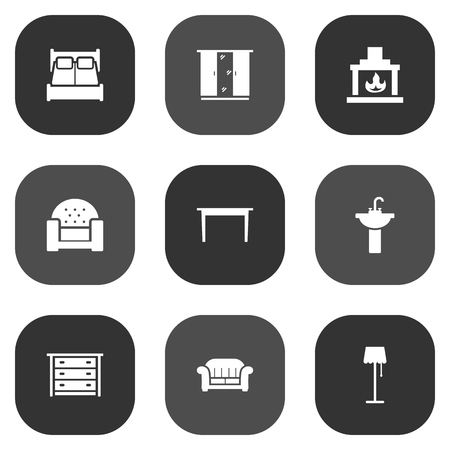 illuminator: Set Of 9 Situation Icons Set.Collection Of Illuminator, Couch, Cupboard And Other Elements.