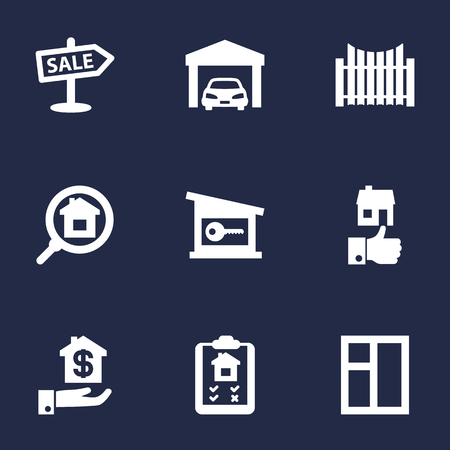 Collection Of Hypothec, Mortgage, Like And Other Elements.  Set Of 9 Real Icons Set. Illustration