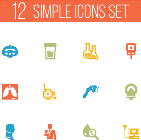 Set Of 12 Healthy Icons Set.Collection Of Diabet, Machine, Urine Tester And Other Elements. Vetores