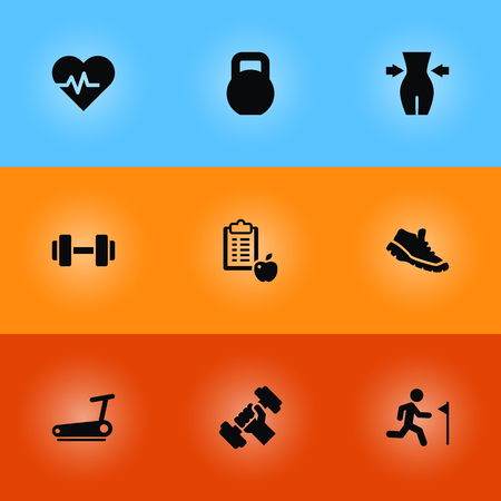 Set Of 9 Bodybuilding Icons Set.Collection Of Barbell, Regime, Running And Other Elements.