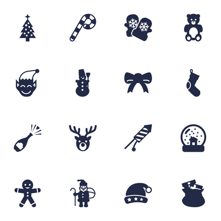 champagne celebration: Collection Of Ice Person, Socks, Firework And Other Elements.  Set Of 16 New Icons Set.