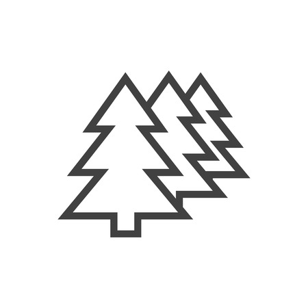 Isolated Forest Outline Symbol On Clean Background. Vector Afforestation Element In Trendy Style.