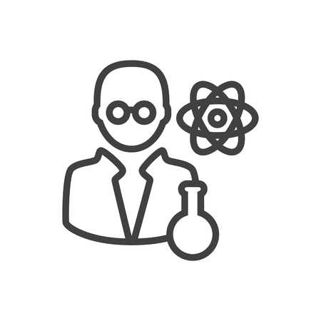 Vector Scientist Element In Trendy Style.  Isolated Scholarly Outline Symbol On Clean Background. Illustration