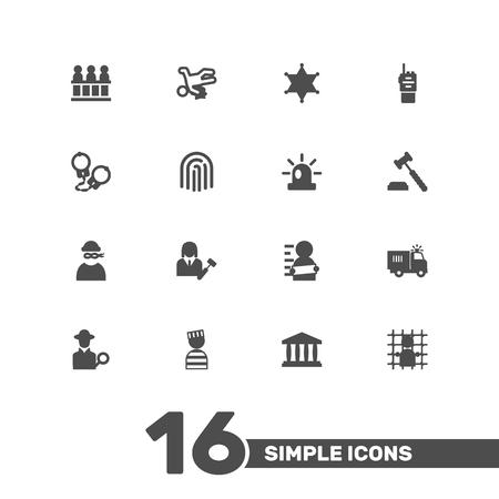 jailer: Collection Of Victim, Walkie-Talkie, Thumbprint And Other Elements.  Set Of 16 Criminal Icons Set. Illustration