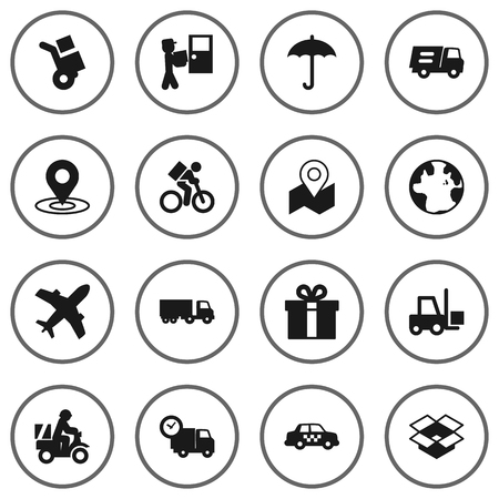 Collection Of Delivery, Scooter, Pinpoint And Other Elements.  Set Of 16 Cargo Icons Set. Illustration