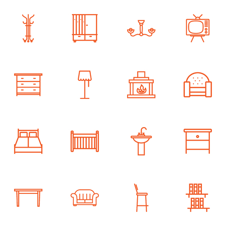 bedside: Set Of 16 Set Outline Icons Set.Collection Of Fireplace, Double Bed, Bookshelf And Other Elements.