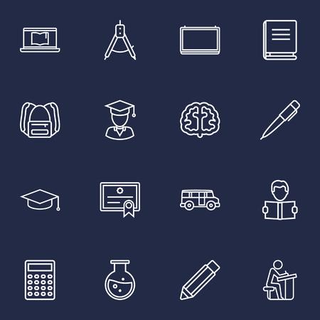Set di 16 icone di contorno di scienza Set. Collezione di matita, apprendimento, diploma e altri elementi. Archivio Fotografico - 84709775