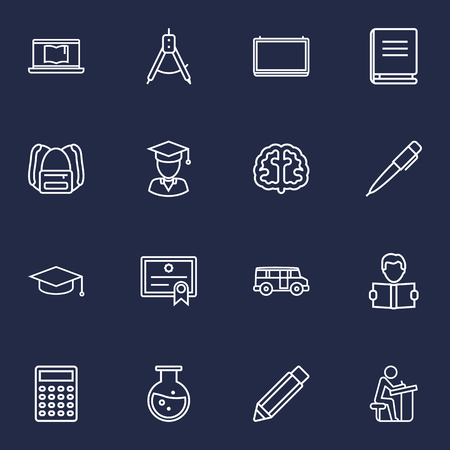 Set Of 16 Science Outline Icons Set.Collection Of Pencil, Learning, Diploma And Other Elements. Illustration