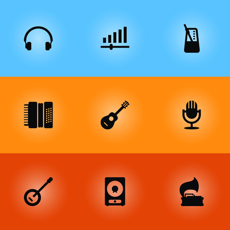 Set Of 9 Melody Icons Set.Collection Of Harmonica, Turntable, Acoustic And Other Elements. Illustration