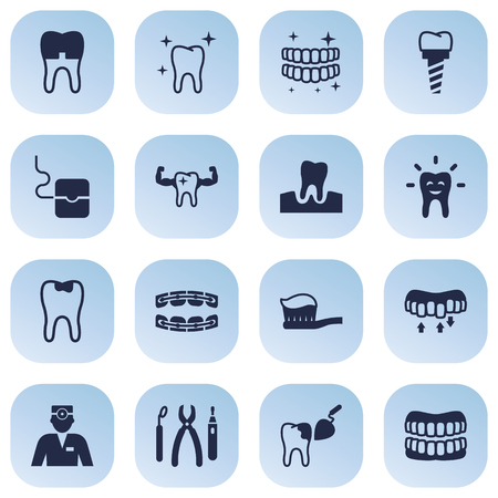 Set Of 16 Dental Icons Set.Collection Of Dental Crown, Procedure, Gingivitis And Other Elements.