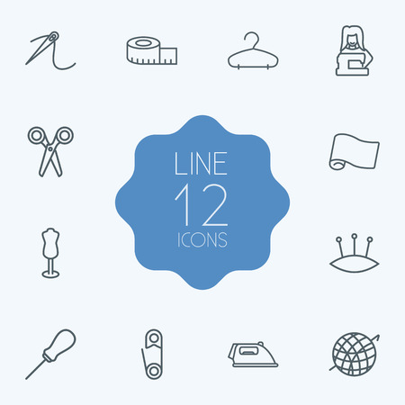 Set Of 12 Stitch Outline Icons Set.Collection Of Tailor, Awl, Safety Pin And Other Elements.