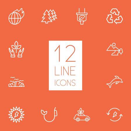 Set Of 12 Atmosphere Outline Icons Set.Collection Of Landscape, Afforestation, Plug Elements. Ilustrace