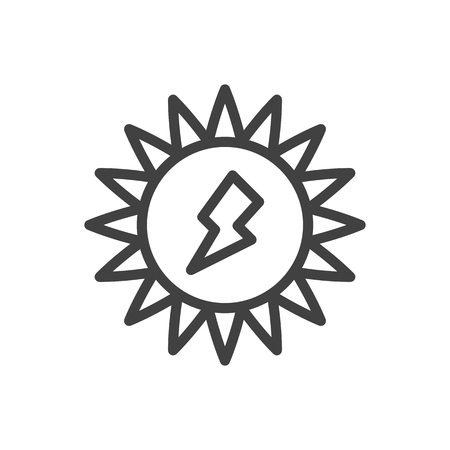 Isolated Energy Outline Symbol On Clean Background. Vector Solar Element In Trendy Style. Illustration