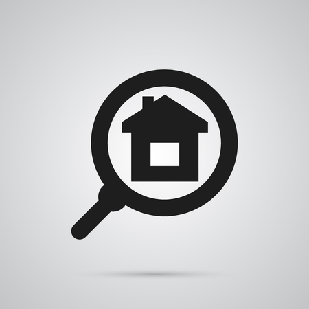 Isolated Search Icon Symbol On Clean Background. Vector Mortgage Element In Trendy Style.