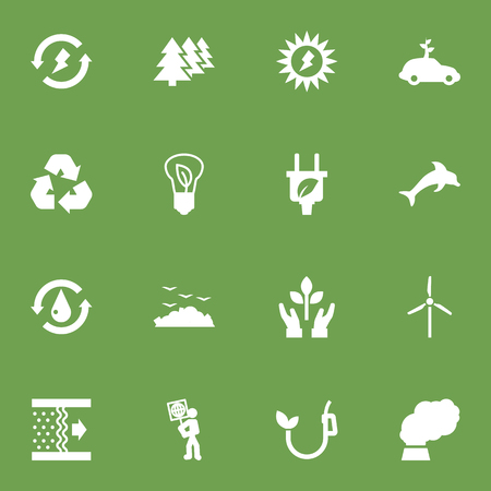 Set Of 16 Bio Icons Set.Collection Of Cleaning, Energy, Fish And Other Elements.